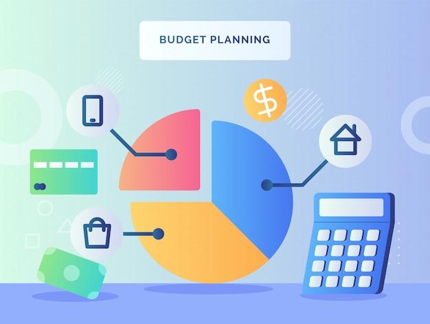 予算計画コンセプト円グラフピースハウスショッピングスマートフォン近くの計算機のお金