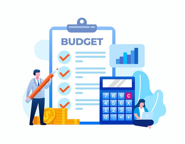 Budget business planning. financial planning flat vector illustration banner and landing page