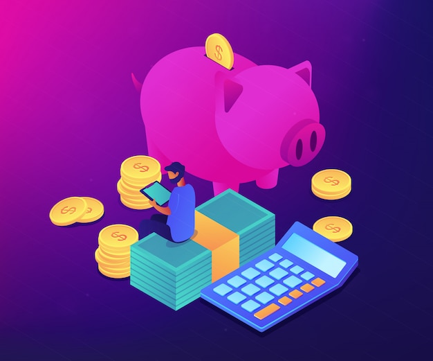Budget control app isometric 3d concept illustration.