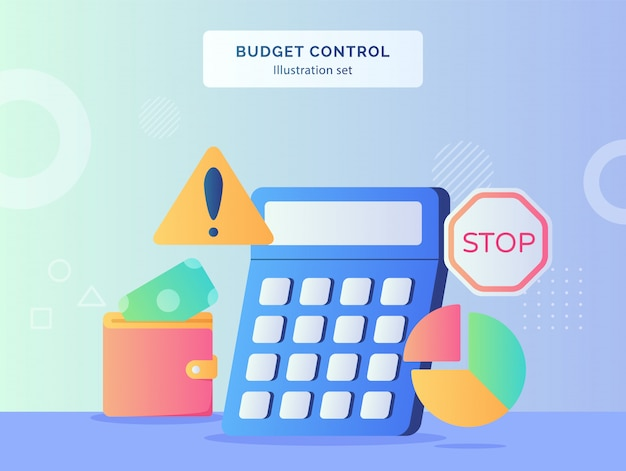 Budget control illustration set calculator of money put in wallet pie chart warning stop traffic sign