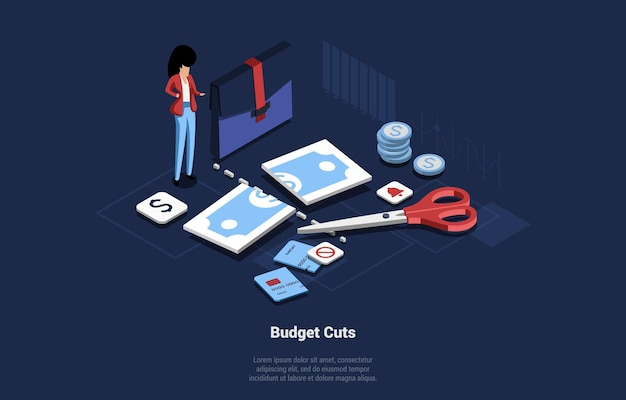 Budget cut concept art, cartoon 3d style. isometric vector illustration on dark background with writing. business female character near office and financial items. cut dollar banknote and credit card.