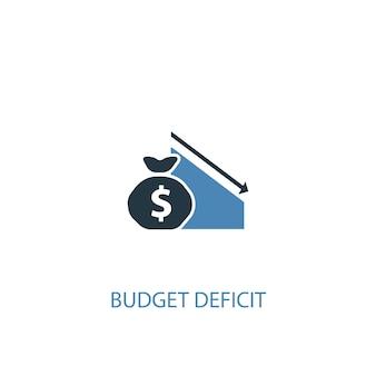 財政赤字のコンセプト2色のアイコン。シンプルな青い要素のイラスト。財政赤字の概念シンボルデザイン。 webおよびモバイルui / uxに使用できます