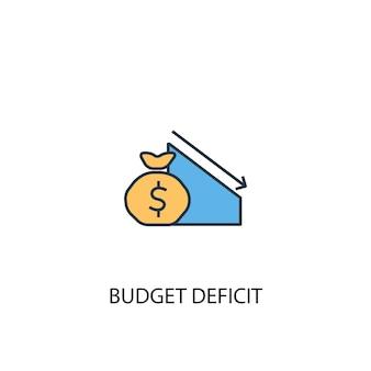予算赤字の概念2色の線のアイコン。シンプルな黄色と青の要素のイラスト。財政赤字の概念概要シンボルデザイン