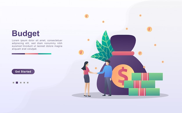 Budget financial concept. men and women cooperation, business investment, get profits from business, cooperation and teamwork.. can use for web landing page, banner, mobile app.