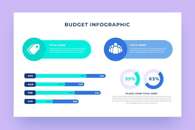 Budget infographic with different illustrated elements