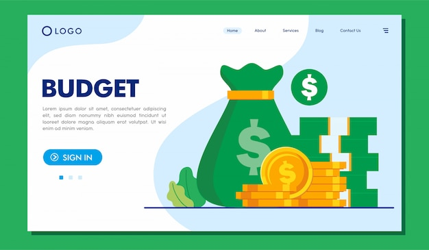 Budget landing page website illustration template
