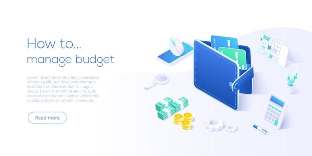 アイソメトリックスタイルの予算管理の概念