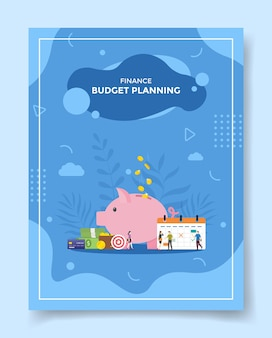 Budget planing people front calendar piggy bank money wallet credit card target for template