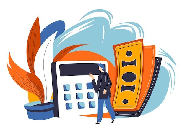 金融資産の予算計画と管理。お金を節約することを考えている紙幣と電卓を持つキャラクター。利益と利益、会計と仕事のための戦略。フラットスタイルのベクトル