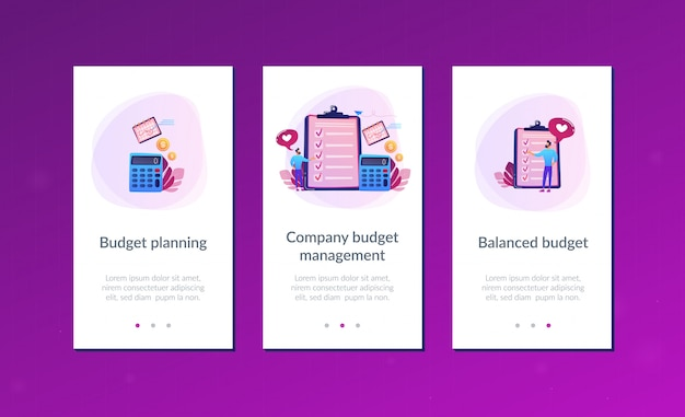 Budget planning app interface template