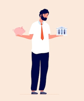 Budget planning. choosing between bank and piggy bank, financial investments literacy. man saving money, economy advisor vector concept. person comparison, between invest illustration
