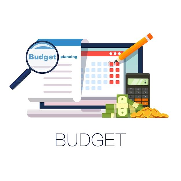 플랫 스타일의 예산 계획 개념. 돈 예산, 웹 사이트, 인포 그래픽에 대한 현대적인 디자인. 삽화