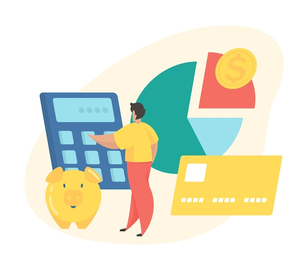 Budget planning concept. male cartoon character calculates budget while standing next to pie chart and money savings. flat vector illustration
