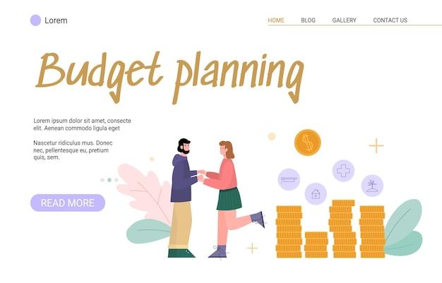 돈을 절약하는 부부 만화 벡터 일러스트와 함께 예산 계획 웹사이트