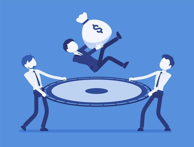 予算節約ネット。お金の袋を持ってジャンプする人を捕まえる若いビジネスマン、ビジネスを維持するための財政援助、安全な収入、リスク、危険からの救出。顔のないキャラクターのイラスト