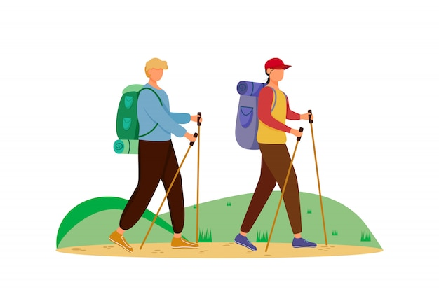 Budget tourism flat  illustration. hiking activity. cheap travelling choice. active vacation. couple on a mountain trip. walking tour isolated cartoon character on white background