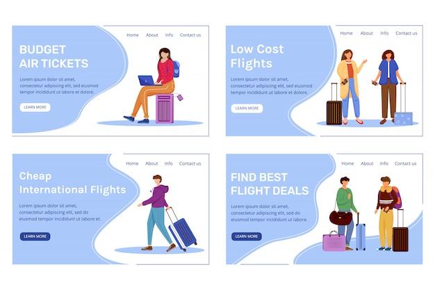 Budget tourism landing page template set.