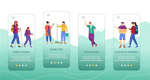 Budget tourism onboarding mobile app screen template.