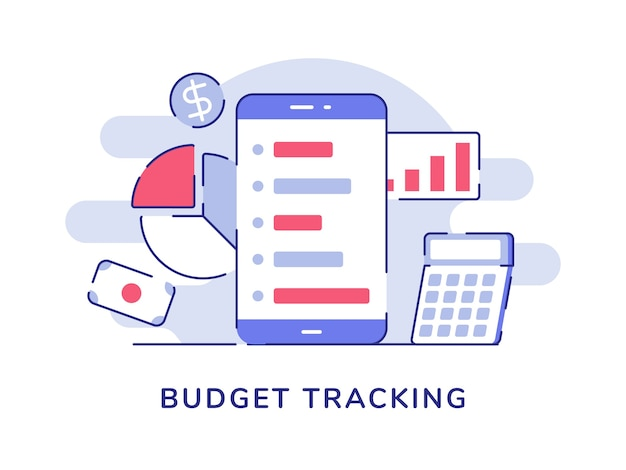 Budget tracking concept smartphone background of statistic bar pie chart money calculator with flat outline style