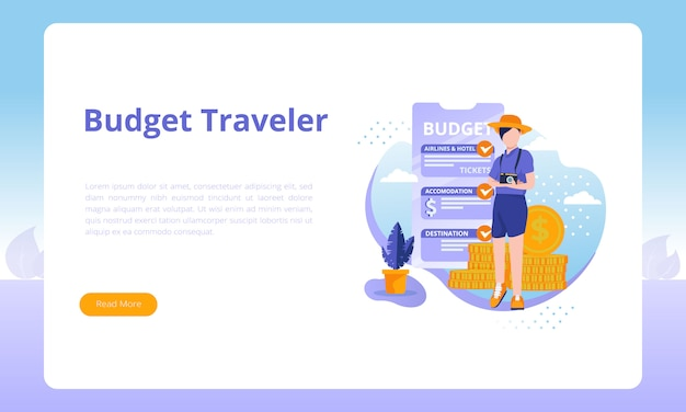 Budget traveler for a landing page template about travel business