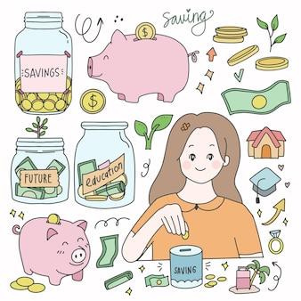 저금통과 예산 및 재정 절약 귀여운 아이콘 스티커 세트 컬렉션