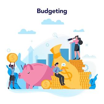 予算の概念。フィナンシャルプランニングと投資のアイデア。