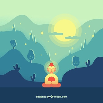 Budha in the nature with flat design