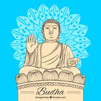 Budha statue with hand drawn style