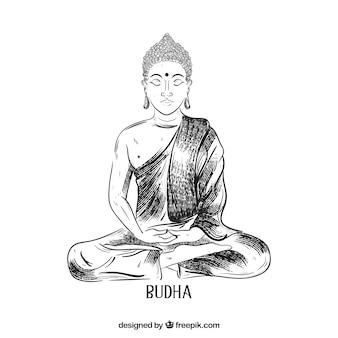 エレガントなスタイルで手描きのbudha