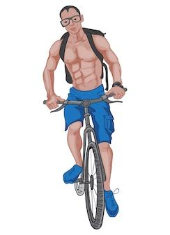 Buff uomo in pantaloncini blu e scarpe, con uno zaino, occhiali e un orologio in sella alla bicicletta