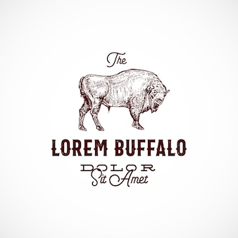 Buffalo abstract  sign, symbol or logo template.