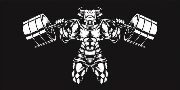 Буйвол и гантель, черно-белая иллюстрация
