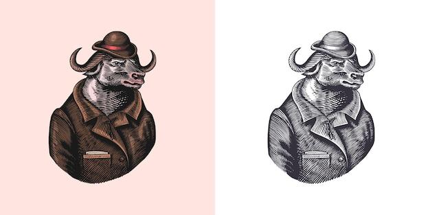 Buffalo bull character in coat fashionable animal vitorian gentleman hand drawn engraved old