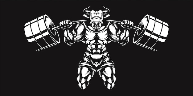 Buffalo and dumbell, black and white illustration