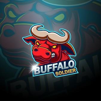 Логотип талисмана buffalo esport Premium векторы