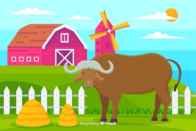 Buffalo at the farm illustration