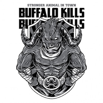 Buffalo kills black and white illustration