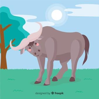 Buffalo in the nature cartoon