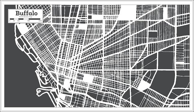 Карта города буффало сша в стиле ретро. контурная карта. векторные иллюстрации.