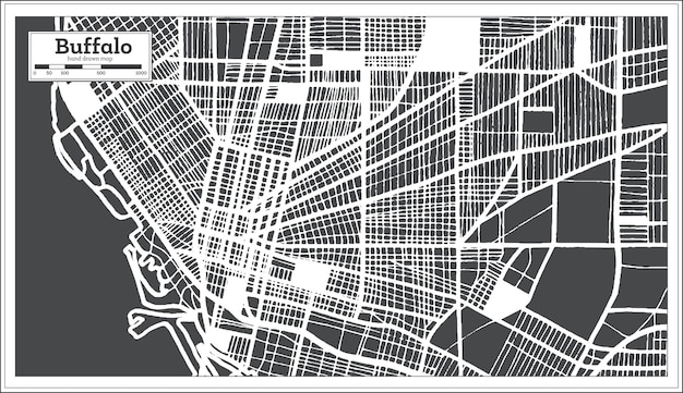 Buffalo usa city map in retro style. outline map. vector illustration.