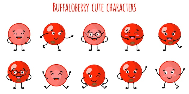 Buffaloberry fruit cute funny cheerful characters with different poses and emotions. natural vitamin antioxidant detox food collection.   cartoon isolated illustration.