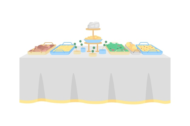 Buffet table for wedding reception flat color object