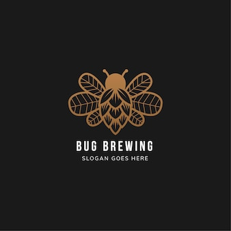 Bug brewery logo template design use brown color in black background. combination of bug, hop beer and leaves on wing.