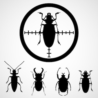 Bug in crosshair  - insect insecticide, cockroach on target Premium Vector