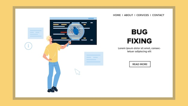 Bug fixing software and application service vector. developer engineer testing, search errors and bug fixing. character analysis and fix program or app web flat cartoon illustration