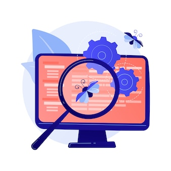 Bug fixing and software testing. computer virus searching tool. develops, web optimization, antivirus app. magnifier, cogwheel and monitor design element concept illustration