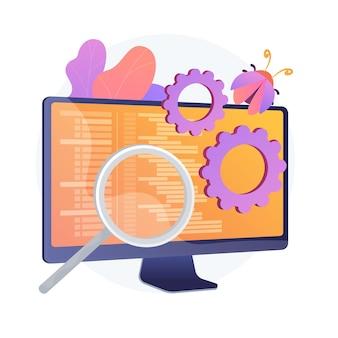 Correzione di bug e test del software. strumento di ricerca di virus informatici. devops, ottimizzazione web, app antivirus. lente di ingrandimento, ruota dentata e elemento di design del monitor.