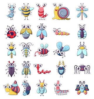 Bug funny insect icons set
