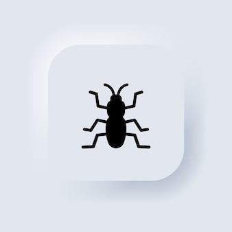 Bug icon in black. insect. parasite, ant, cockroach. neumorphic ui ux white user interface web button. neumorphism. vector eps 10.