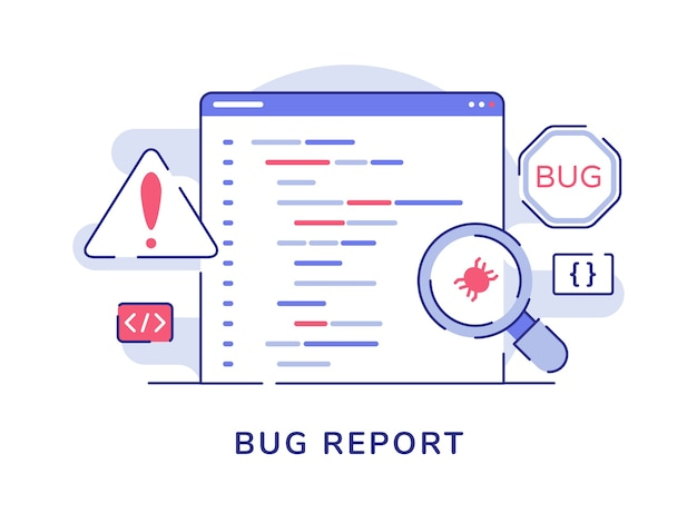 Bug report concept magnifying bug on program software computer with flat outline style